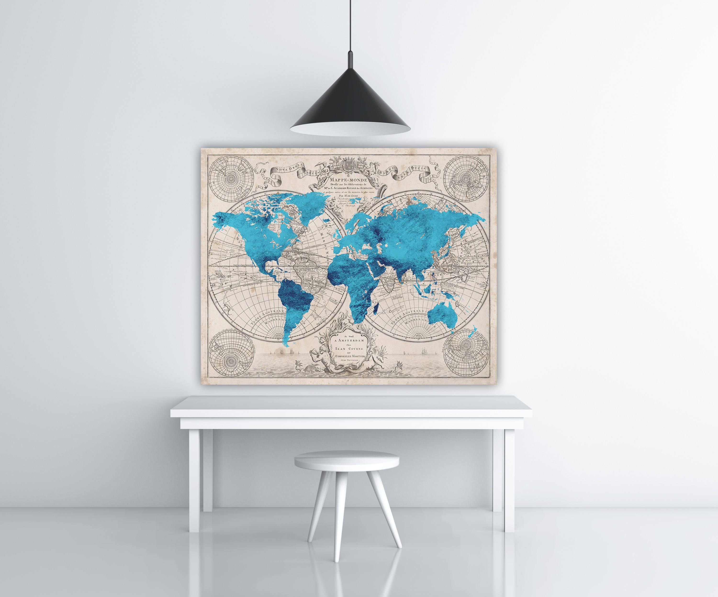 Turquoise vintage world map print retro travel poster print blue