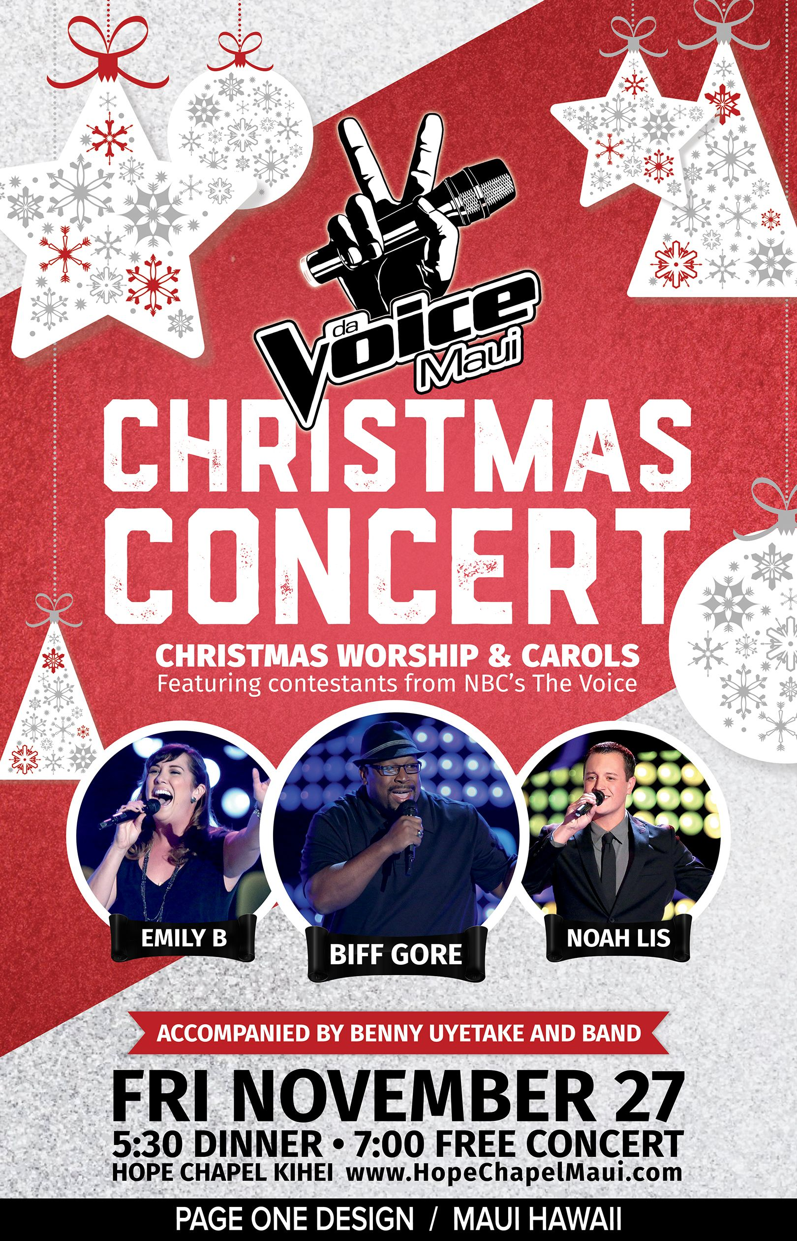 christmas poster design for the voice christmas concert on maui