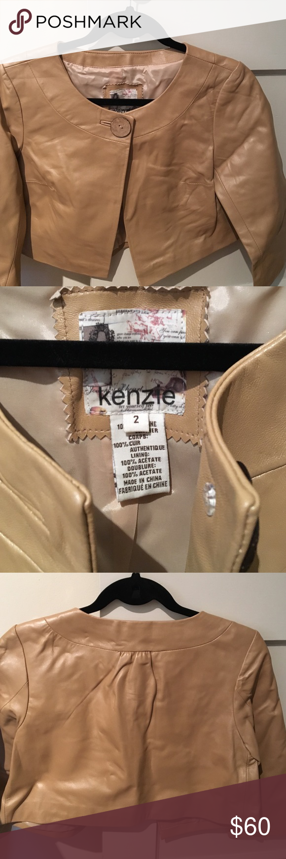 Kenzie nude / beige leather cropped jacket Never worn - perfect condition. 3/4 length sleeves. kenzie Jackets & Coats