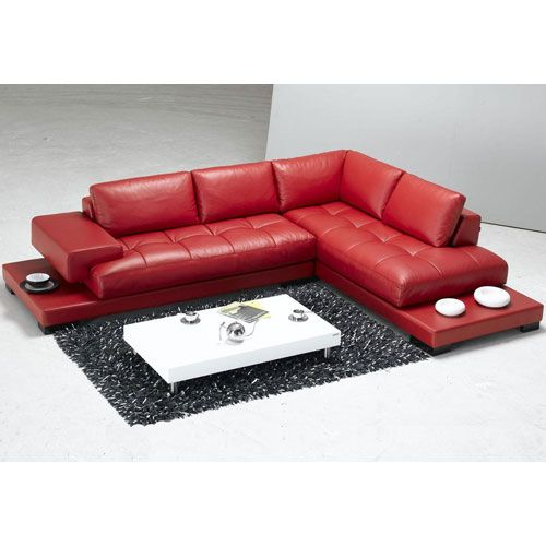 Modern Red Leather Sectional Sofa Only Bucket List Pinterest