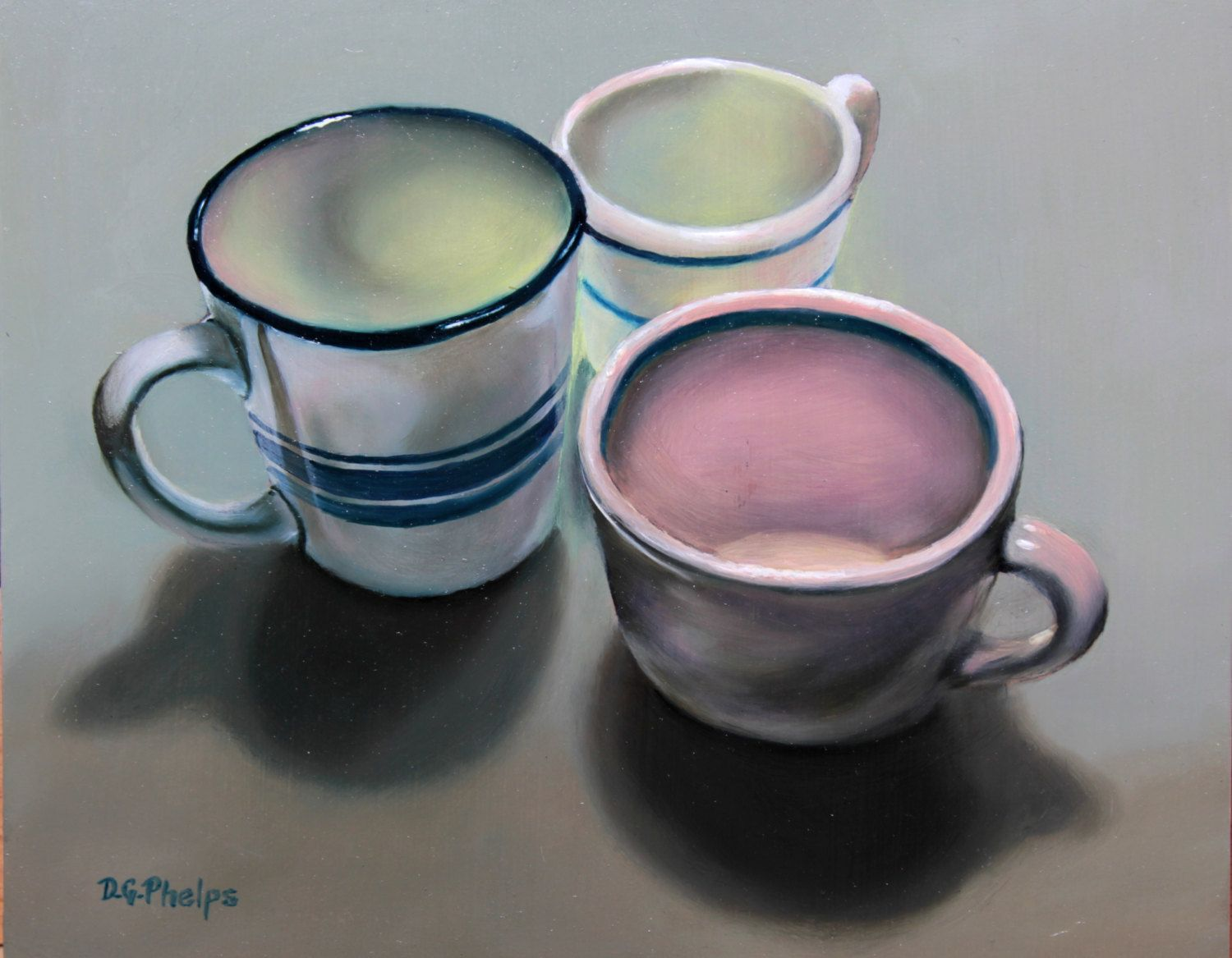 blue stripe club coffee mugs oil painting still life original art  - blue stripe club coffee mugs oil painting still life original art contemporarymodern art