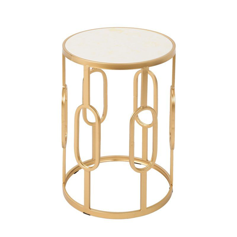 Mercer41 Hollen Stone Concrete Side Table Wayfair In 2020 Side Table Faux Stone Siding Gold End Table