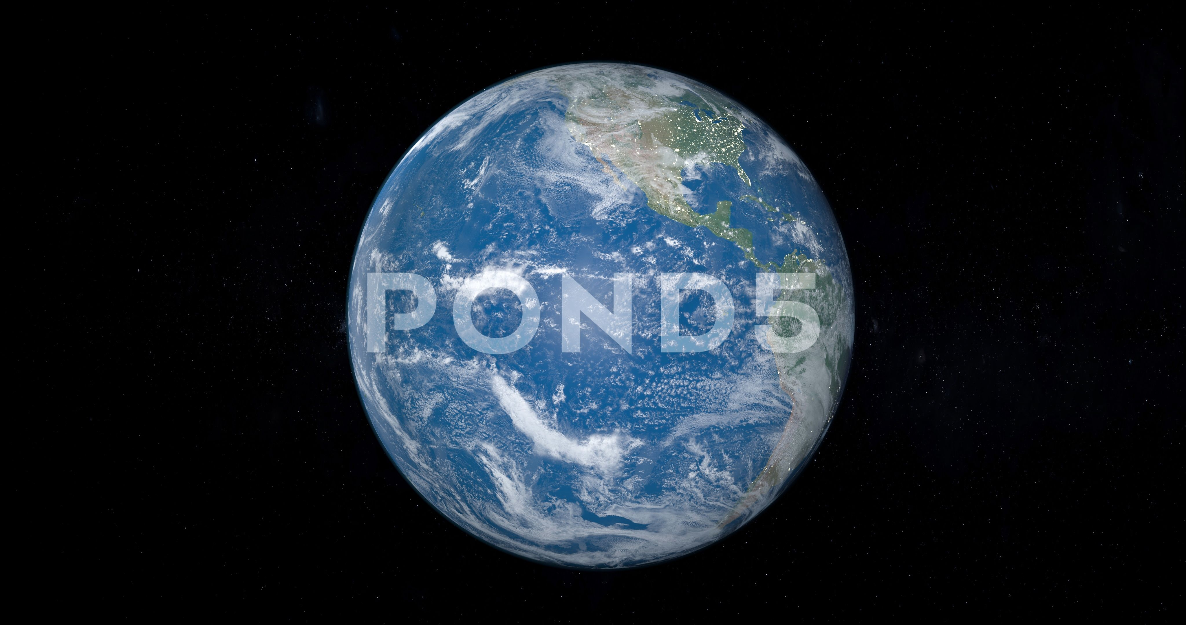 Planet Earth Rotating With Pacific Ocean Stock Footage