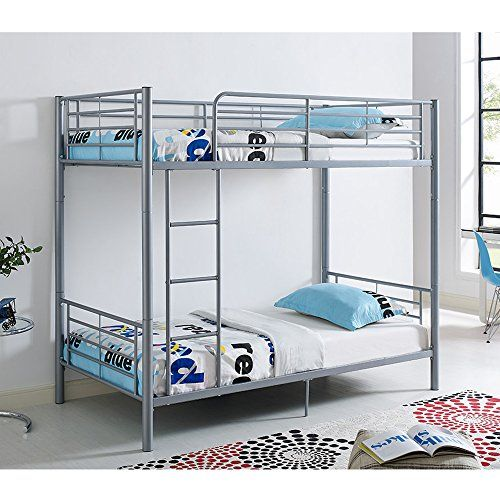 We Furniture Twin Over Silver Metal Bunk Bed We Furniture Metal Bunk Beds Bunk Beds With Stairs Cool Bunk Beds