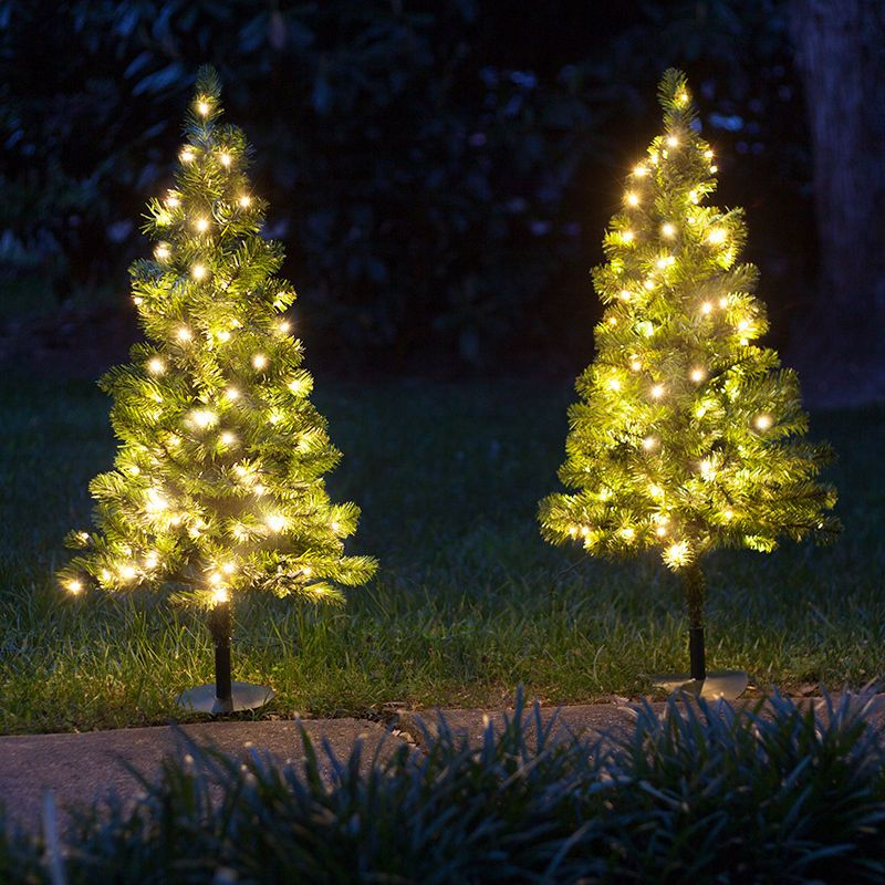 3 pre lit walkway warm white led christmas trees pack of 2 outdoor yard decor green - Pre Lit Polar Bear Christmas Decoration Set Of 3