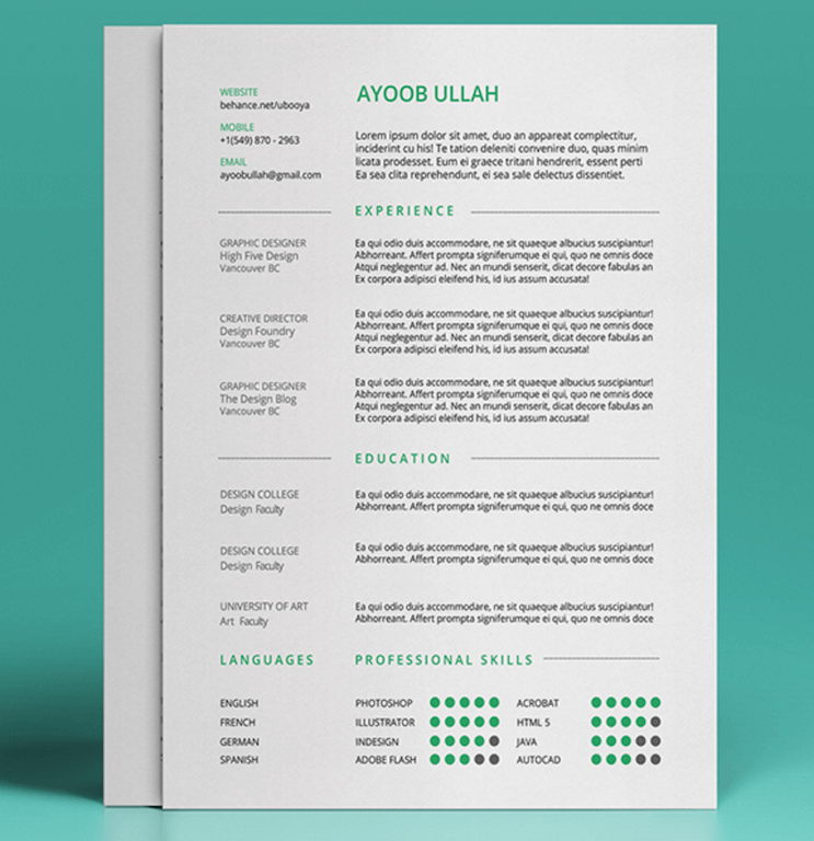 Free Resume Template By Ayoob Ullah  Resume    Sample