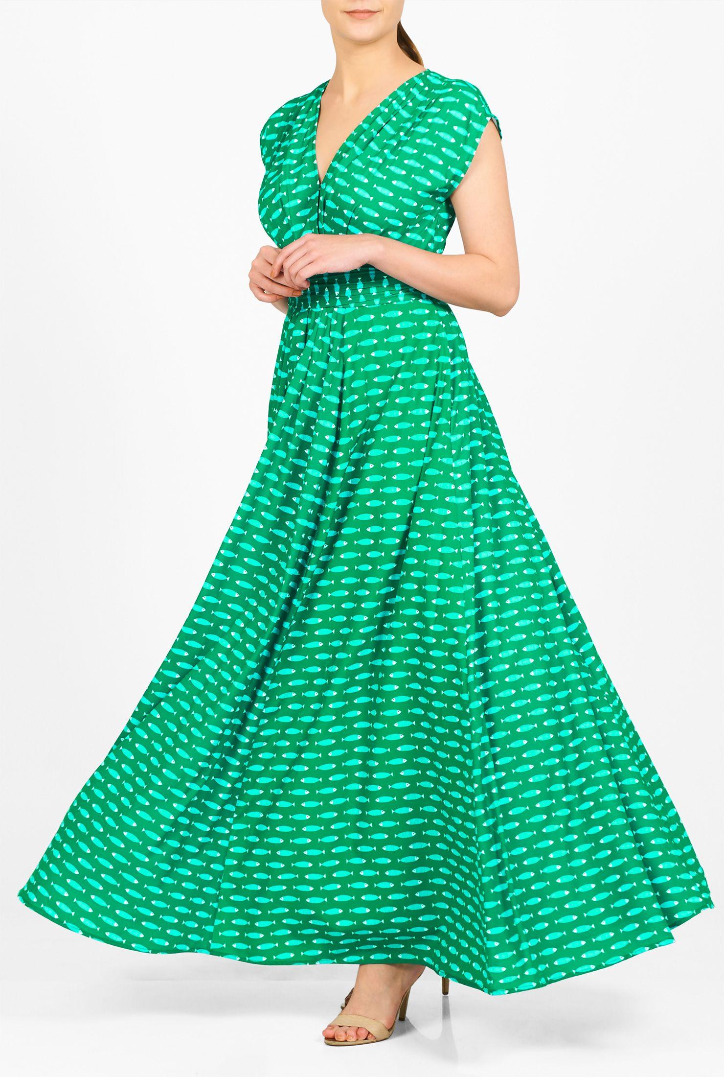 Fish Print Crepe Surplice Maxi Dress Maxi Dress Dresses Fashion Clothes Women [ 2200 x 1480 Pixel ]