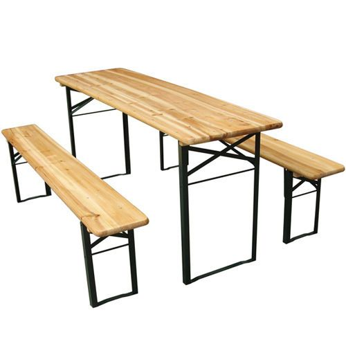 Details about X-LARGE OUTDOOR FOLDING BEER TABLE BENCH SET TRESTLE GARDEN  PUB FURNITURE PARTY