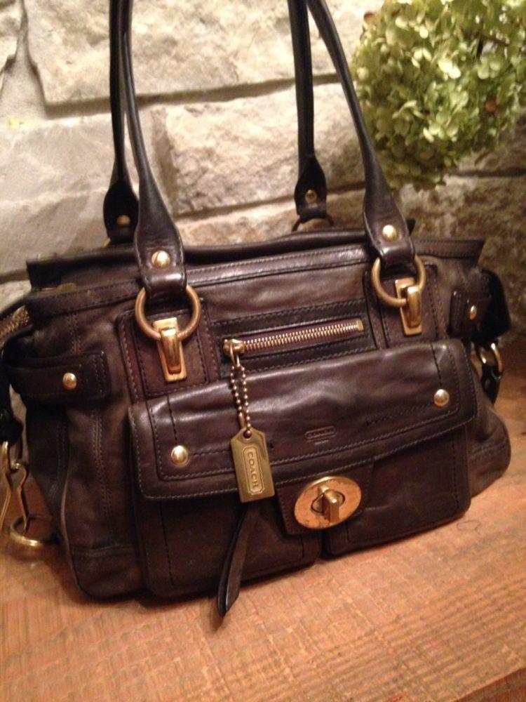 COACH Vintage Leather Hampton Lindsay Expresso Brown Shoulder Bag Ret  798  12475  Coach  TotesShoppers 09d6526e07