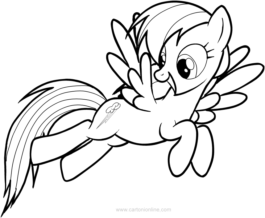 Dibujo De Rainbow Dash De Las My Little Pony Para Colorear En 2020 Rainbow Dash Dibujos Colores