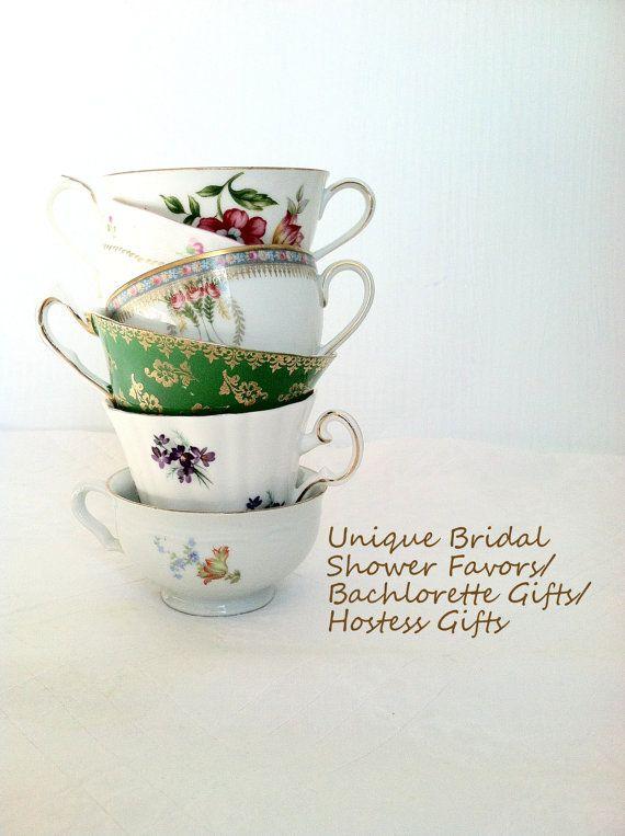 Set of 6 vintage mismatched tea cups party favors bridal for Teacup party favors