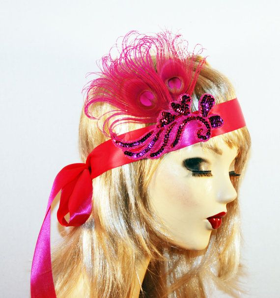 Fuschia Art Deco Flapper Costume Headband  Hot by MadameMerrywidow, $35.00