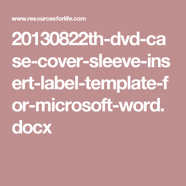 20130822th Dvd Case Cover Sleeve Insert Label Template For Microsoft