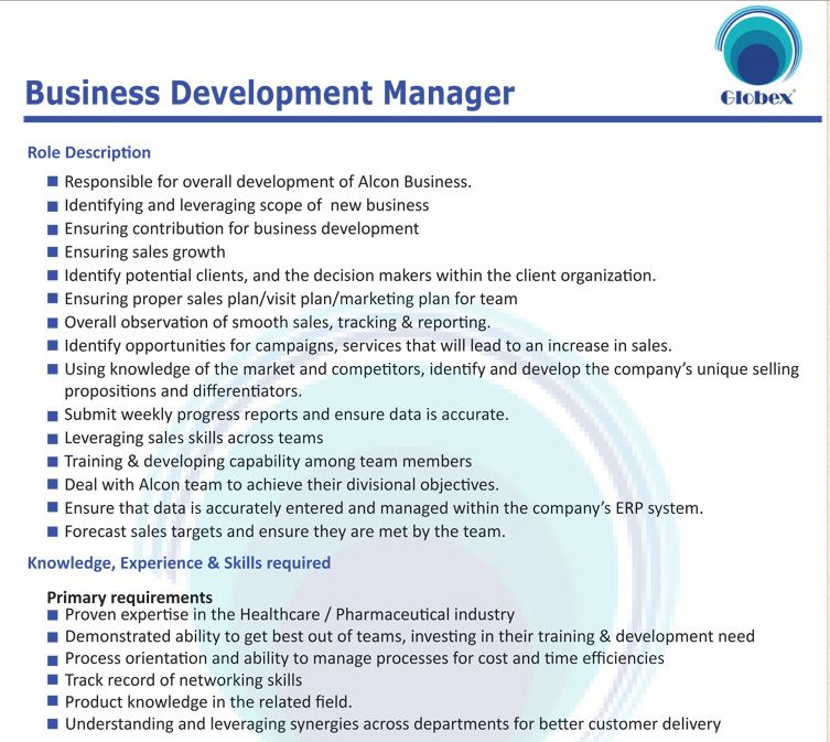 Globex Marketing Company Ltd Business Development Manager Job - Business Development Manager Job Description