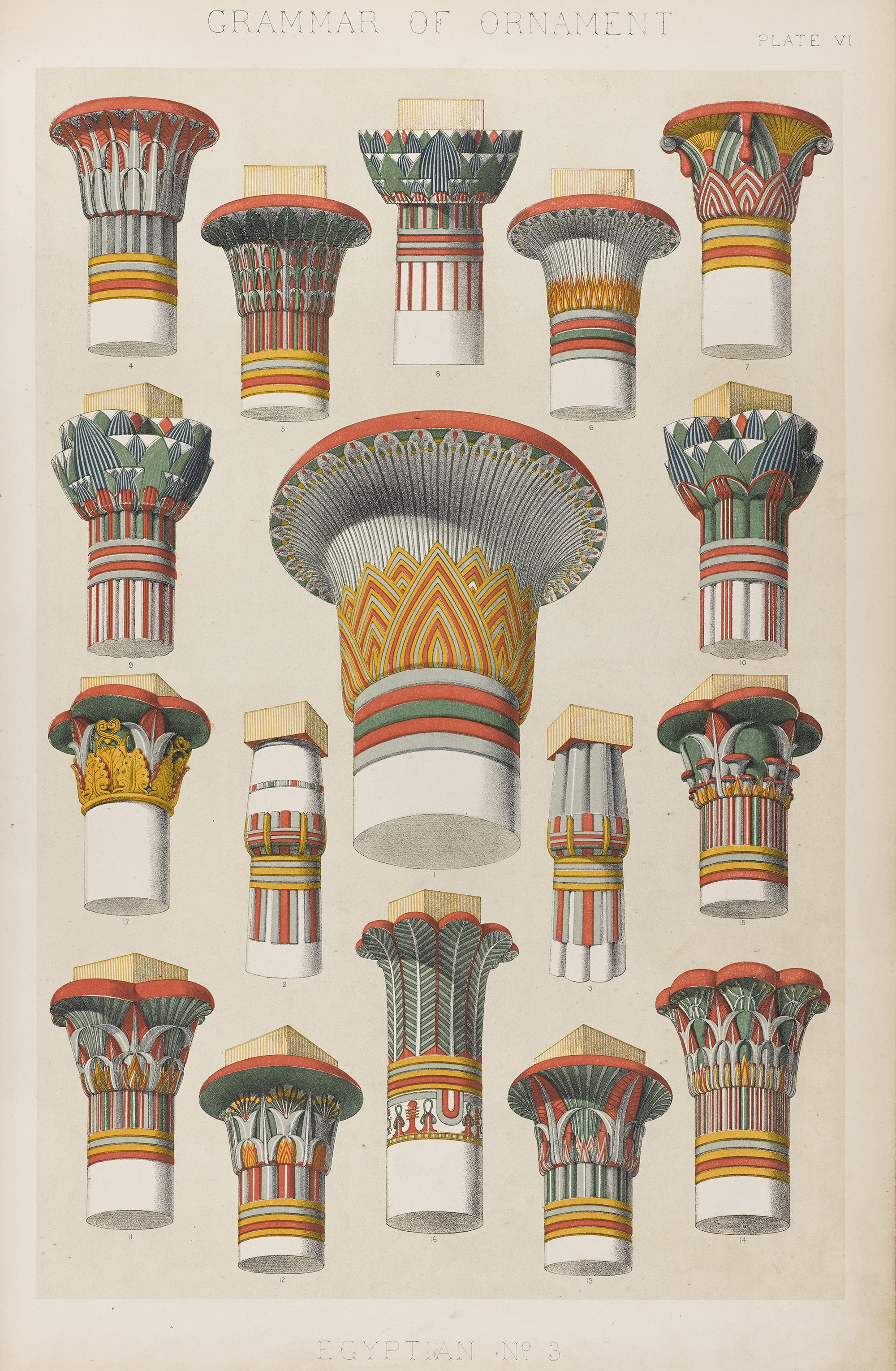 Terminologies In Egyptian Architecture Grammar Of Ornament By Owen Jones 1856 National Museum Of Scotland