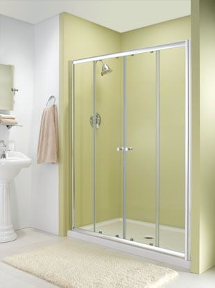 In Line Door For Tub Or Shower Featuring Center Opening Double