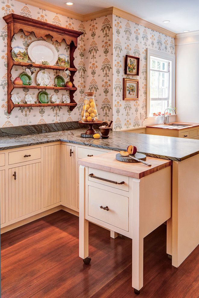 Gorgeous Butcher Block Cart In Kitchen Traditional With Ikea Trash Pullout Next To Rolling Kitchen Island Kitchen Renovation Home Kitchens Kitchen Inspirations