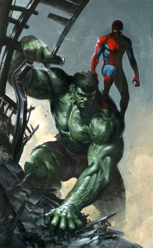 The Hulk And Spider Man By Gabriele Dell Otto Marvel Comics Y Dibujos Animados Arte De Comics Y Superheroes