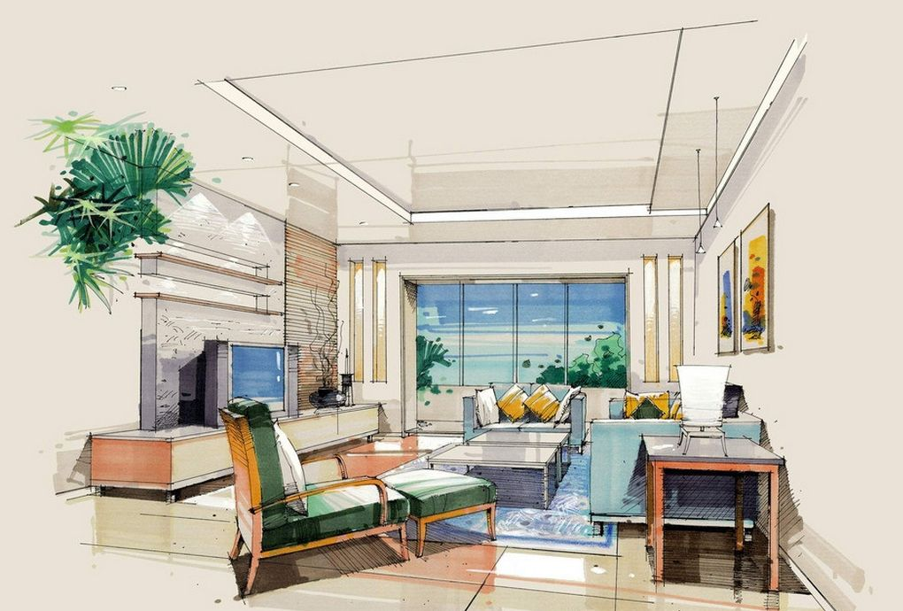 Interior design sketches living room google search Room sketches interior design