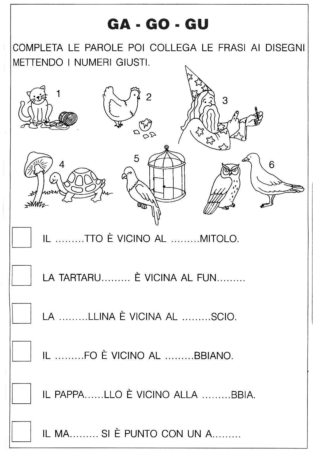 Ga go gu scuola attivit per ragazzi e italia for Parole con gi