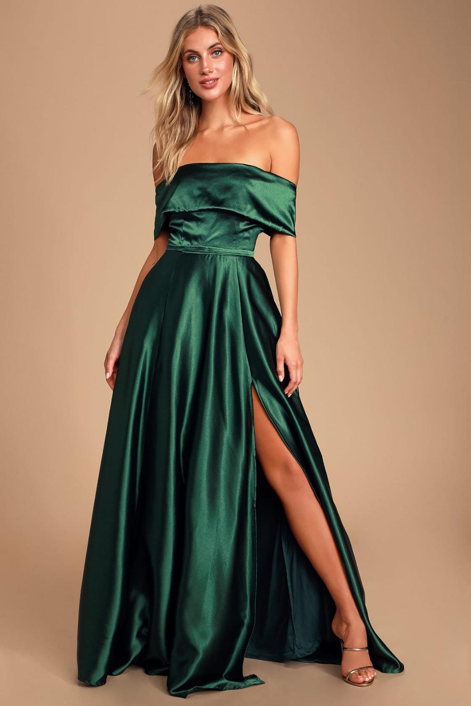 Dark Green Illusion Neckline Chiffon Long Prom Dress - $52