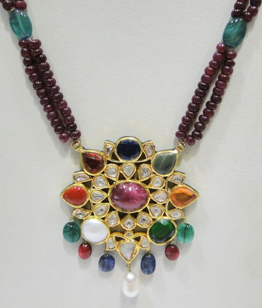 Vintage antique k gold navratan gemstone enamel work necklace