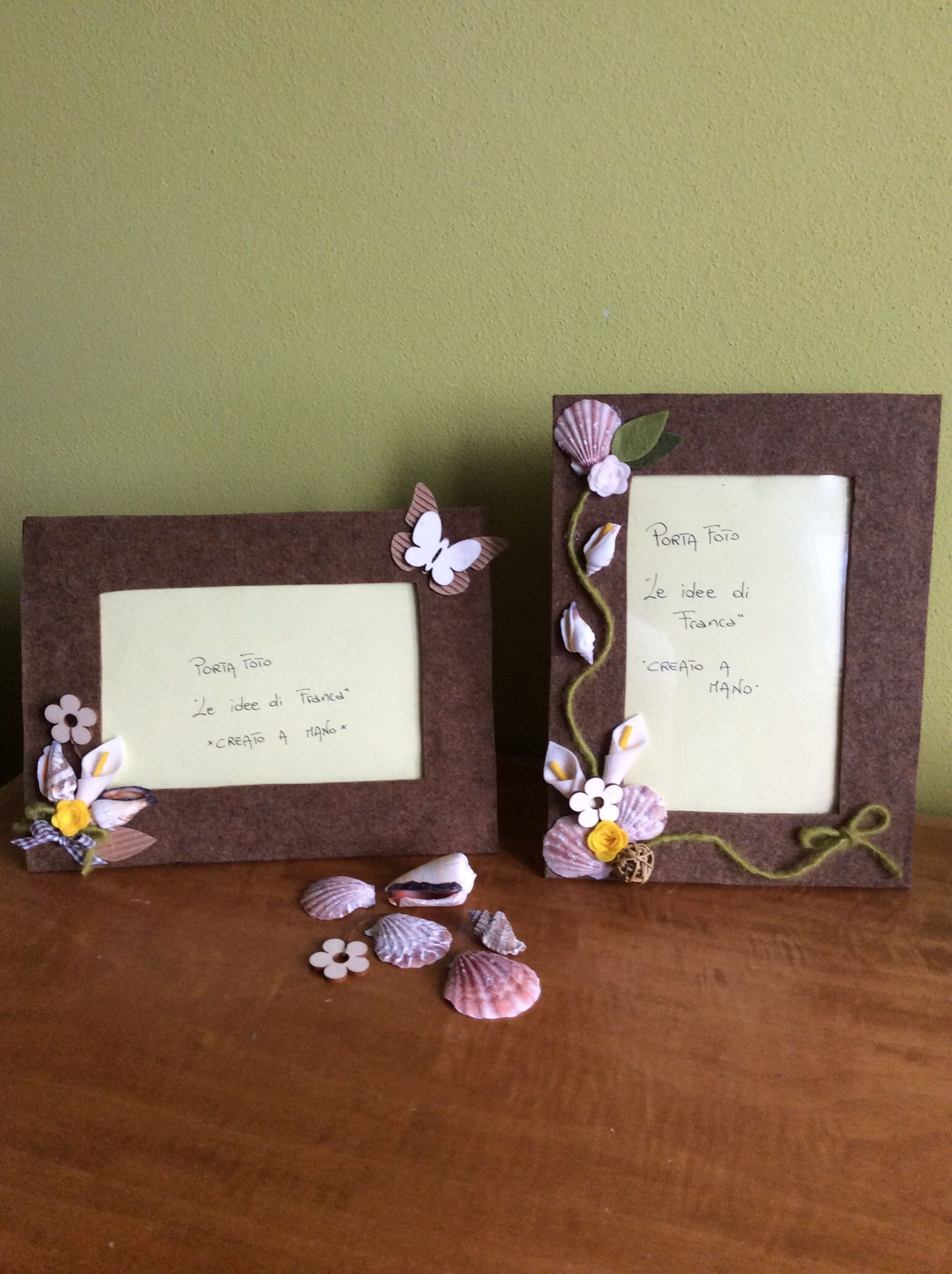 Portafoto feltro con conchiglie | comunione | Pinterest