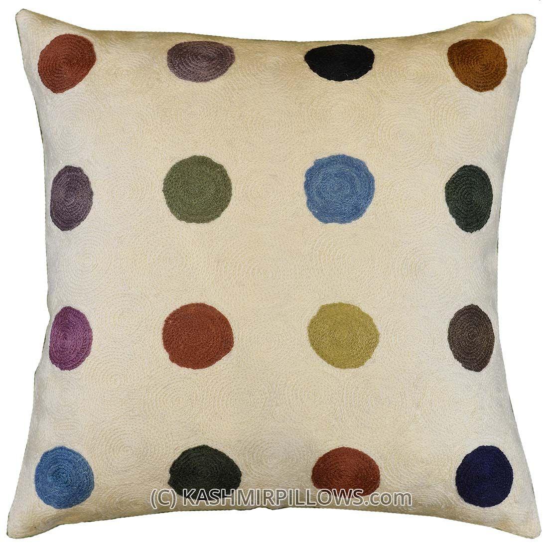 Polka Dots Ivory Modern Throw Pillows Cream Cushion Cover Accent