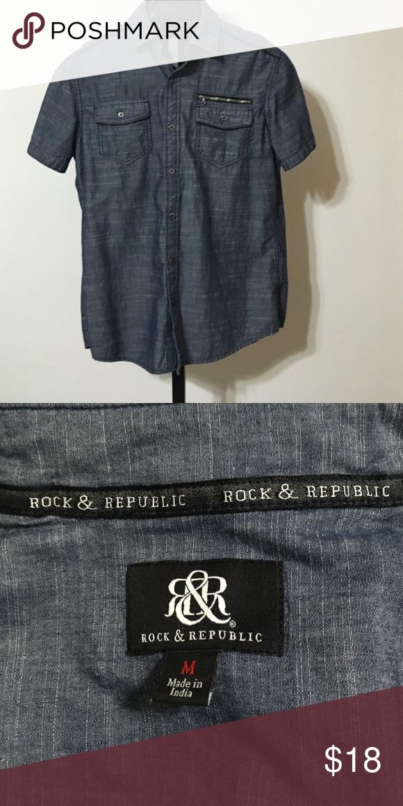 Men's Rock & Republic shirt Men's Rock & Republic buttoned-down shirt size M Rock & Republic Shirts Polos