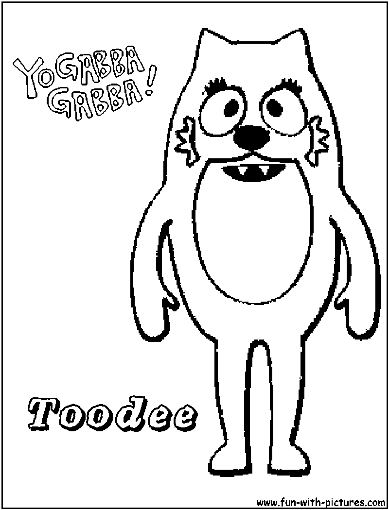 Coloring pages yo gabba gabba - Yogabbagabba Toodee Coloring Page