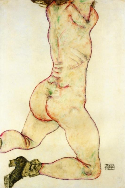Sentada de la mujer - Egon Schiele - WikiArt.org