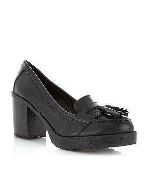 3143b09a6528 Black (Black) Black Chunky Tassel Block Heel Loafers