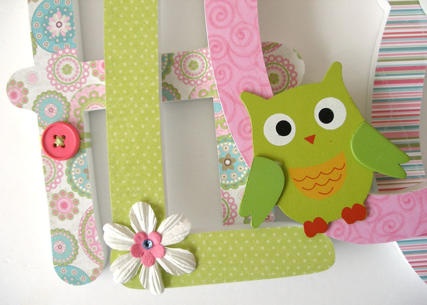 Bedroom Decor Letters custom wooden letters - bright owls theme - lime, green, pink, and