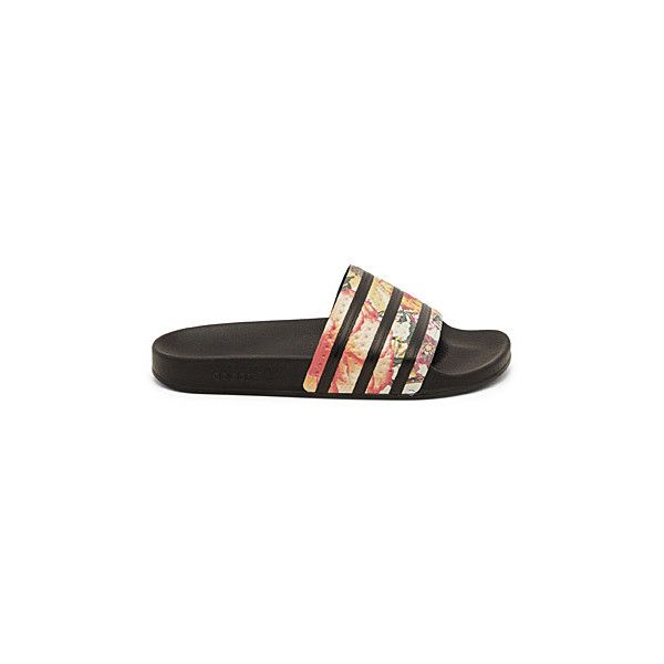 Adidas Adilette floral slides ($31) ❤ liked on Polyvore
