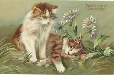 Maurice Boulanger Cats with flowers - Marguerite