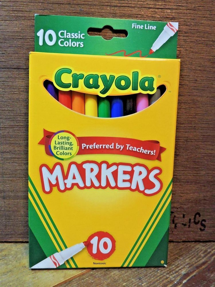 New 10 pack crayola fine line nontoxic markers kids back