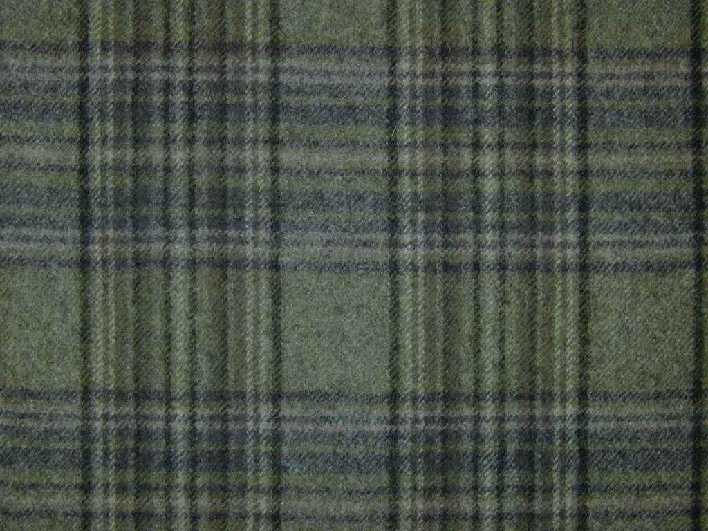 Stirling Wool Tartan Check Sage Green Curtain Upholstery Fabric