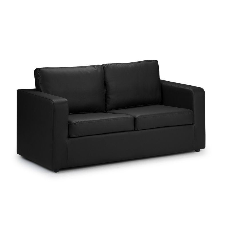 2 Seater Sofa Bed Single Size Black Faux Leather Fold Out Living Room Furniture