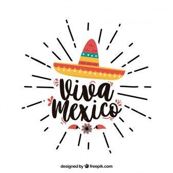 Fondo de lettering de viva mexico con sombrero  739bf09a64c