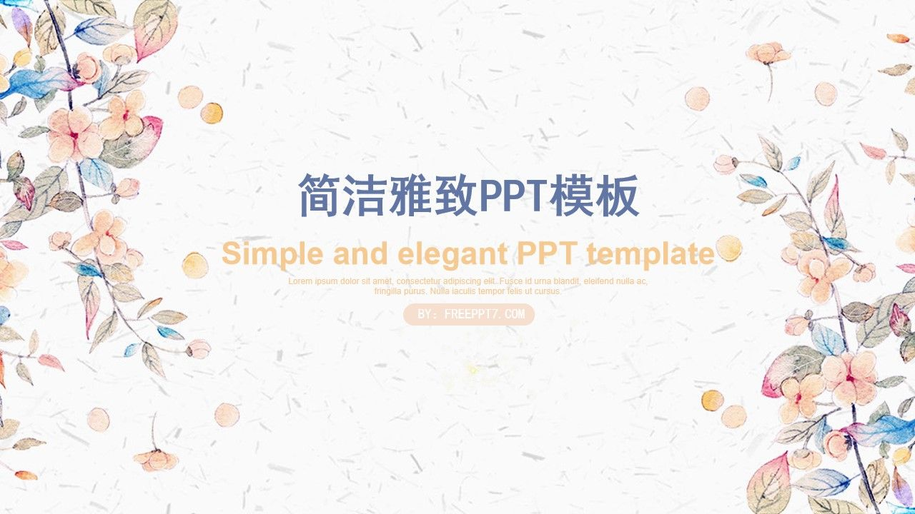 Simple And Elegant Ppt Template Based On Watercolor Flowers It Reflects The Fresh Literary Sty In 2020 Powerpoint Presentation Design Powerpoint Templates Powerpoint