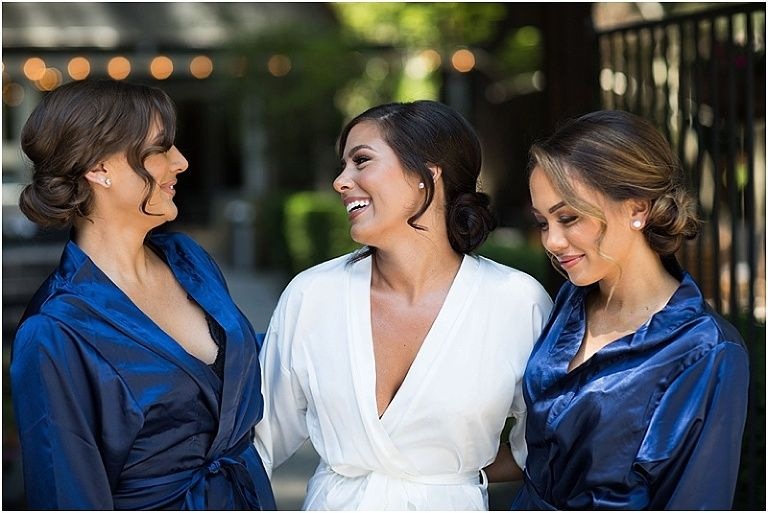 Bridesmaids in robes at deer park villa wedding villa