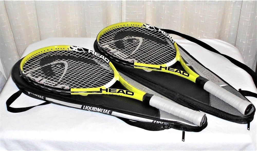 Two Head Ti Agassi Pro Green Tennis Racquets & Head Cases
