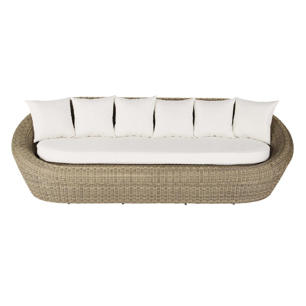 Canapé de jardin 3/4 places en résine tressée | Salon de ...
