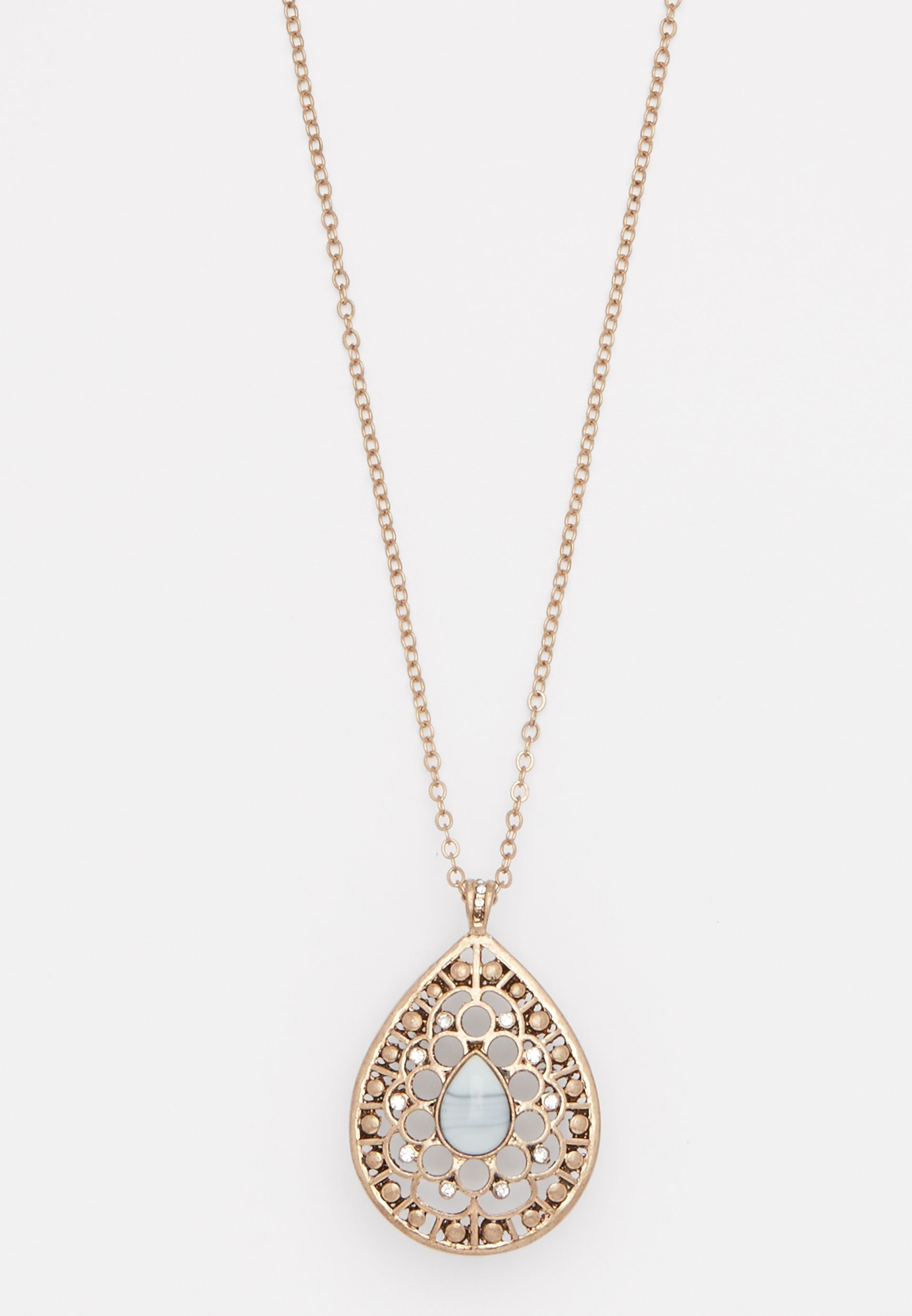 Maurices Tear Drop Jeweled Necklace cuF33