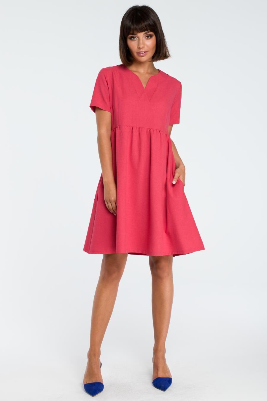 b37cf1446c Rozkloszowana Letnia Sukienka Różowa BW081