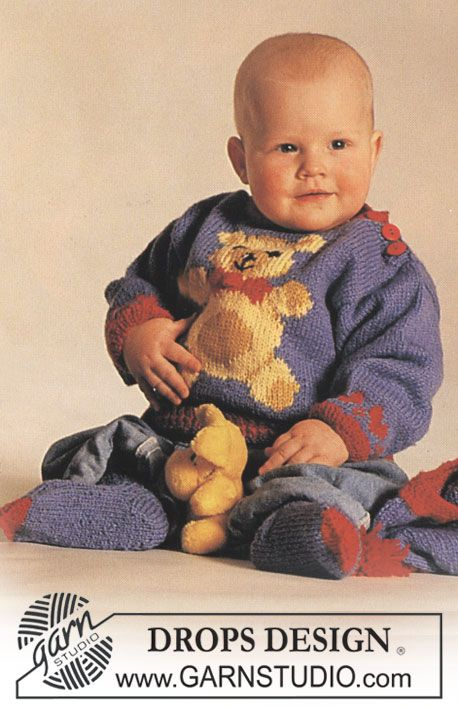 DROPS jumper with teddy motif, socks and hat in Baby Merino and Alpaca. Free pattern by DROPS Design.