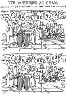 The Wedding At Cana Spot Difference Worksheet Craftskids
