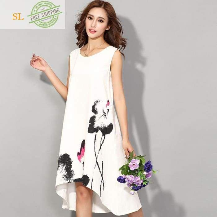 e36210f5e1 New 2016 Fashion China Style Flower Print Sleeveless Comfortable Cotton  Linen Casual Dress Women Summer Dresses