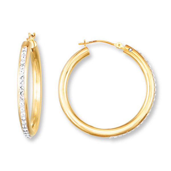 892692acd Hoop Earrings Crystal Accents 14K Gold Over Resin in 2019 | Products ...