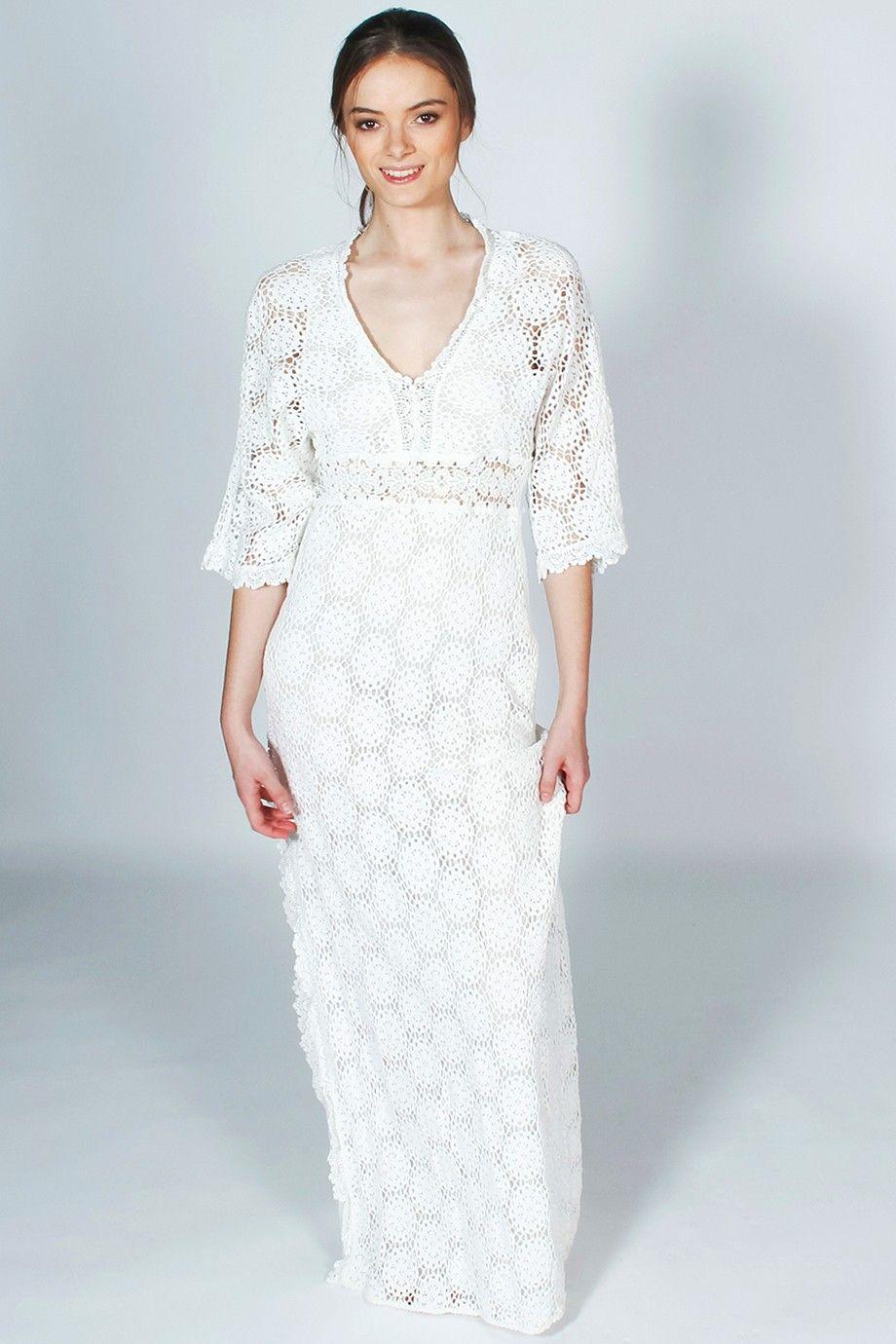 Robe longue blanche crochet LORRAINE Ba&sh manches 34